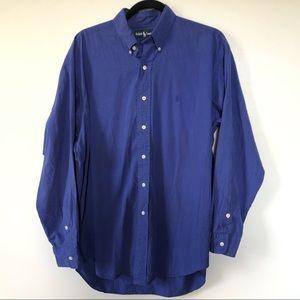Ralph Lauren Shirt Medium Mens Blaker Blue Button